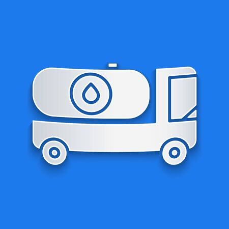 Paper cut Fuel tanker truck icon isolated on blue background. Gasoline tanker. Paper art style. Vector Illustration Stock Illustratie