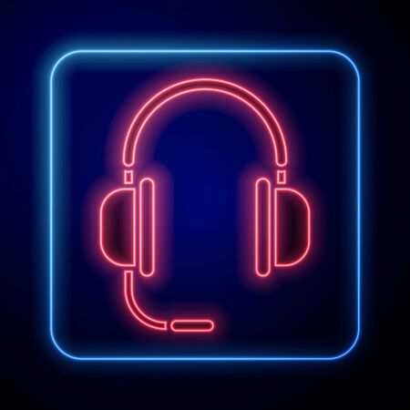 Glowing neon Headphones with microphone icon isolated on blue background. Vector Illustration