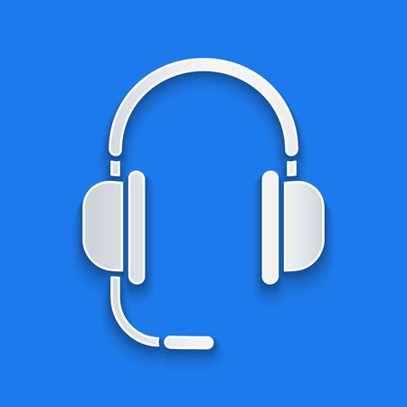 Paper cut Headphones with microphone icon isolated on blue background. Paper art style. Vector Illustration Иллюстрация
