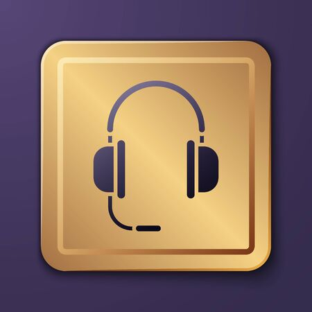 Purple Headphones with microphone icon isolated on purple background. Gold square button. Vector Illustration Иллюстрация
