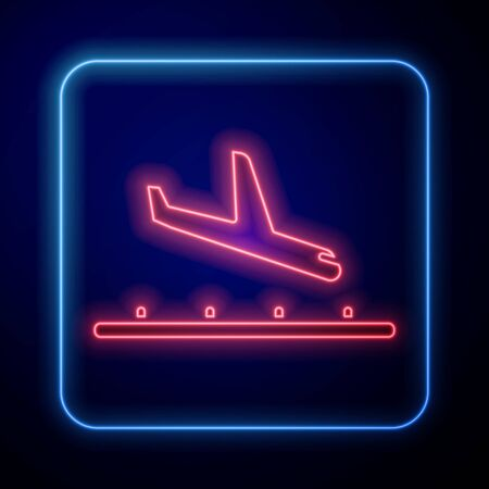 Glowing neon Plane landing icon isolated on blue background. Airplane transport symbol. Vector Illustration