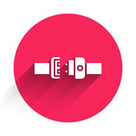 White Safety belt icon isolated with long shadow. Seat belt. Red circle button. Vector Illustration Illusztráció
