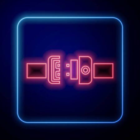 Glowing neon Safety belt icon isolated on blue background. Seat belt. Vector Illustration