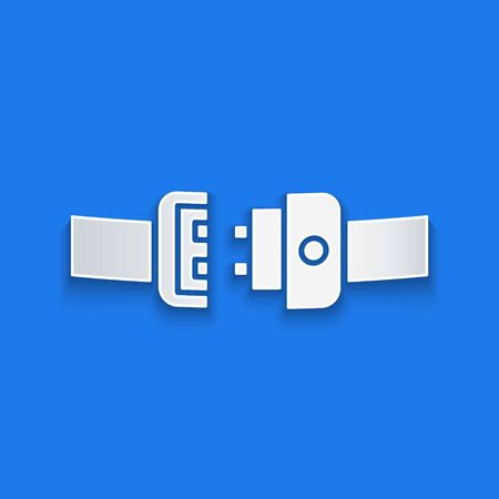 Paper cut Safety belt icon isolated on blue background. Seat belt. Paper art style. Vector Illustration