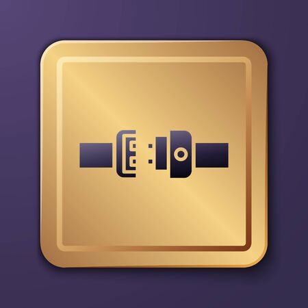 Purple Safety belt icon isolated on purple background. Seat belt. Gold square button. Vector Illustration