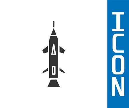 Grey Rocket icon isolated on white background. Vector Illustration