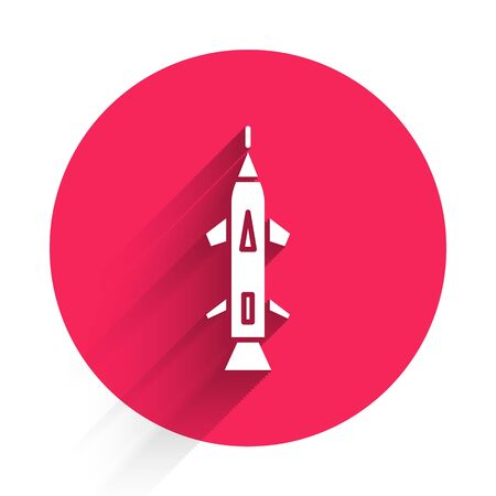 White Rocket icon isolated with long shadow. Red circle button. Vector Illustration Ilustração