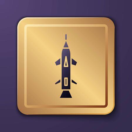 Purple Rocket icon isolated on purple background. Gold square button. Vector Illustration Ilustração