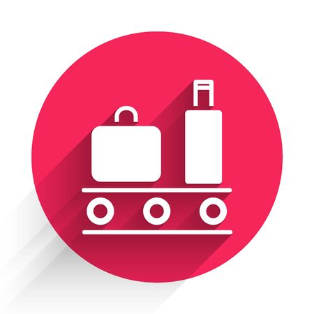 White Airport conveyor belt with passenger luggage, suitcase, bag, baggage icon isolated with long shadow. Red circle button. Vector Illustration