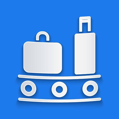 Paper cut Airport conveyor belt with passenger luggage, suitcase, bag, baggage icon isolated on blue background. Paper art style. Vector Illustration