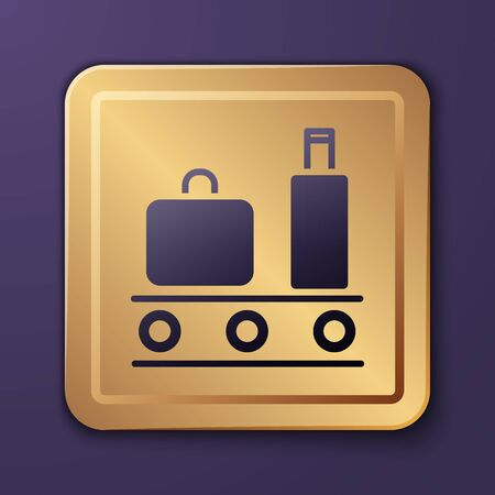 Purple Airport conveyor belt with passenger luggage, suitcase, bag, baggage icon isolated on purple background. Gold square button. Vector Illustration Illusztráció