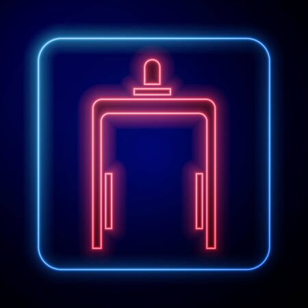 Glowing neon Metal detector in airport icon isolated on blue background. Airport security guard on metal detector check point. Vector Illustration