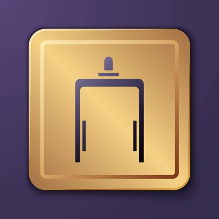Purple Metal detector in airport icon isolated on purple background. Airport security guard on metal detector check point. Gold square button. Vector Illustration