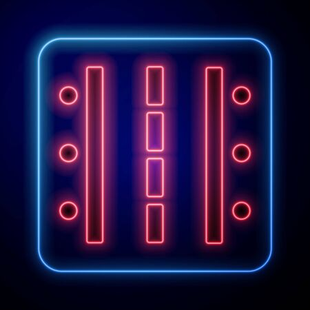 Glowing neon Airport runway for taking off and landing aircrafts icon isolated on blue background. Vector Illustration