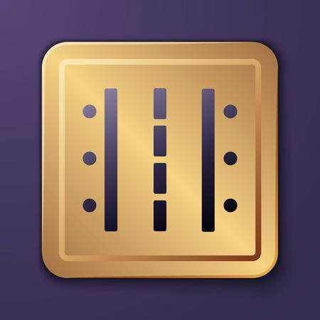 Purple Airport runway for taking off and landing aircrafts icon isolated on purple background. Gold square button. Vector Illustration