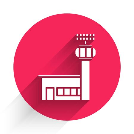 White Airport control tower icon isolated with long shadow. Red circle button. Vector Illustration