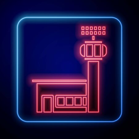 Glowing neon Airport control tower icon isolated on blue background. Vector Illustration