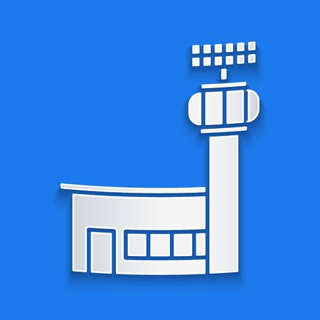 Paper cut Airport control tower icon isolated on blue background. Paper art style. Vector Illustration
