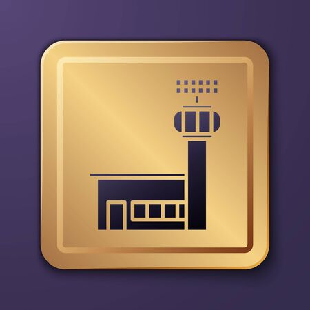 Purple Airport control tower icon isolated on purple background. Gold square button. Vector Illustration