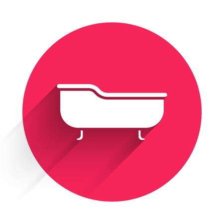 White Bathtub icon isolated with long shadow. Red circle button. Vector Illustration