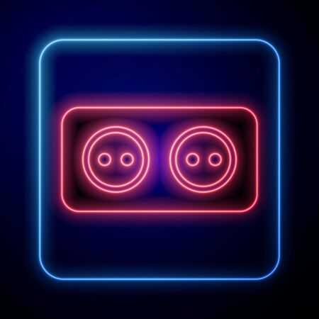 Glowing neon Electrical outlet icon isolated on blue background. Power socket. Rosette symbol. Vector Illustration