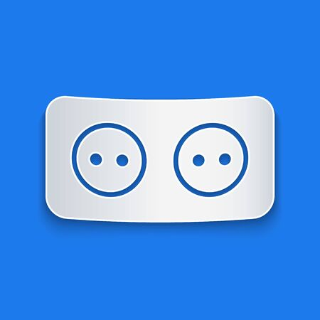 Paper cut Electrical outlet icon isolated on blue background. Power socket. Rosette symbol. Paper art style. Vector Illustration