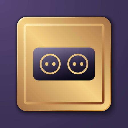 Purple Electrical outlet icon isolated on purple background. Power socket. Rosette symbol. Gold square button. Vector Illustration
