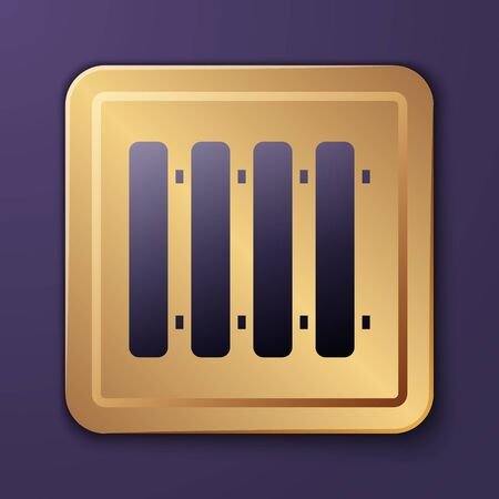 Purple Heating radiator icon isolated on purple background. Gold square button. Vector Illustration