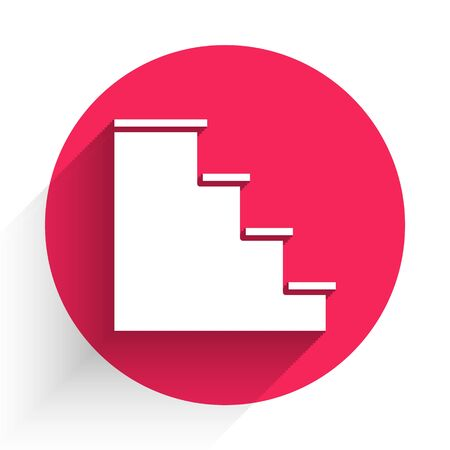 White Staircase icon isolated with long shadow. Red circle button. Vector Illustration