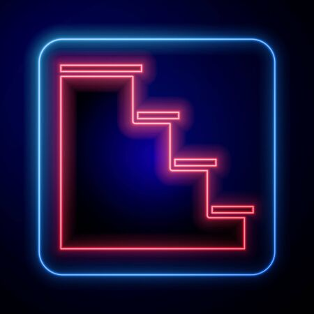 Glowing neon Staircase icon isolated on blue background. Vector Illustration