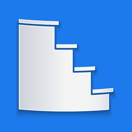Paper cut Staircase icon isolated on blue background. Paper art style. Vector Illustration Ilustrace