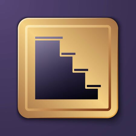 Purple Staircase icon isolated on purple background. Gold square button. Vector Illustration Ilustrace