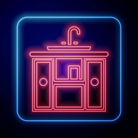 Glowing neon Washbasin cabinet with water tap icon isolated on blue background. Vector Illustration Vettoriali