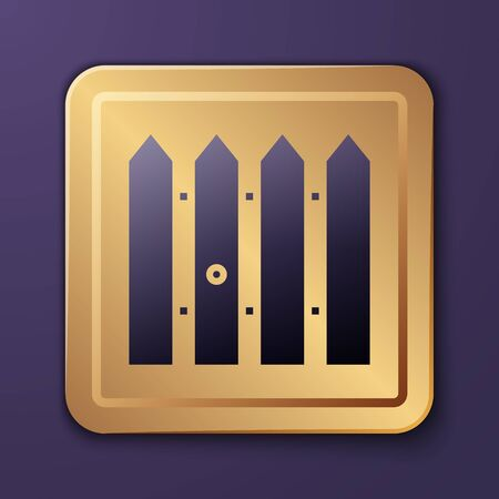 Purple Garden fence wooden icon isolated on purple background. Gold square button. Vector Illustration