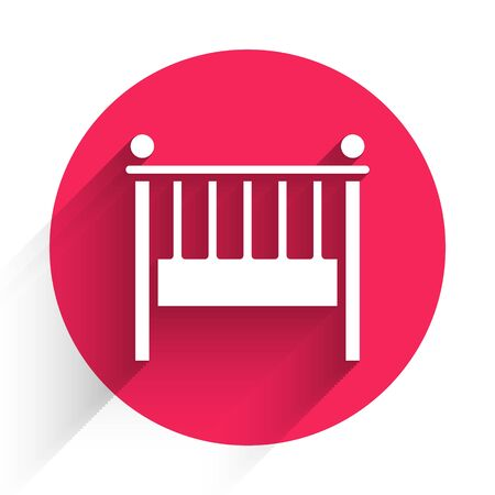 White Baby crib cradle bed icon isolated with long shadow. Red circle button. Vector Illustration