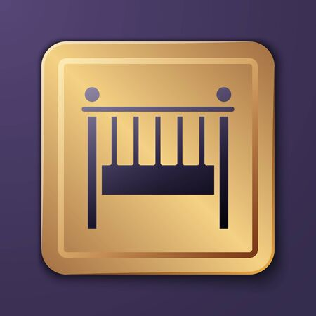 Purple Baby crib cradle bed icon isolated on purple background. Gold square button. Vector Illustration