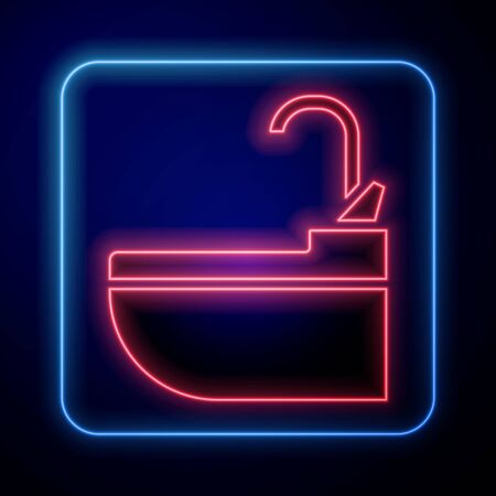 Glowing neon Washbasin with water tap icon isolated on blue background. Vector Illustration