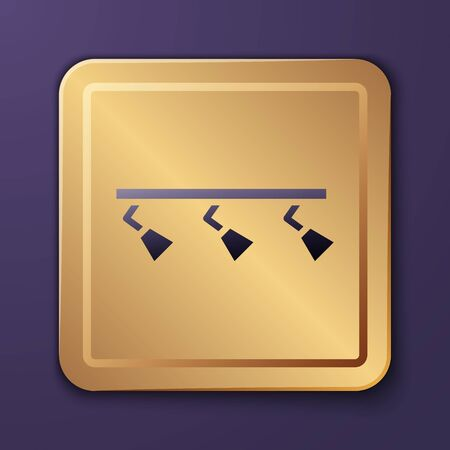 Purple Led track lights and lamps with spotlights icon isolated on purple background. Gold square button. Vector Illustration Иллюстрация