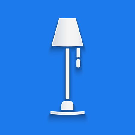 Paper cut Floor lamp icon isolated on blue background. Paper art style. Vector Illustration