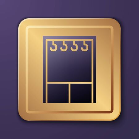 Purple Wardrobe icon isolated on purple background. Gold square button. Vector Illustration