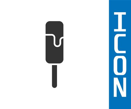 Grey Ice cream icon isolated on white background. Sweet symbol. Vector Illustration