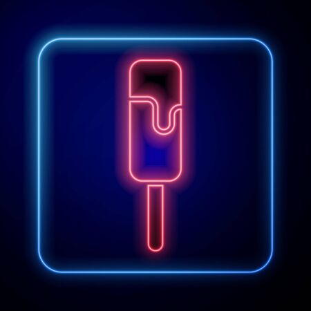 Glowing neon Ice cream icon isolated on blue background. Sweet symbol. Vector Illustration