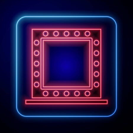 Glowing neon Makeup mirror with lights icon isolated on blue background. Vector Illustration