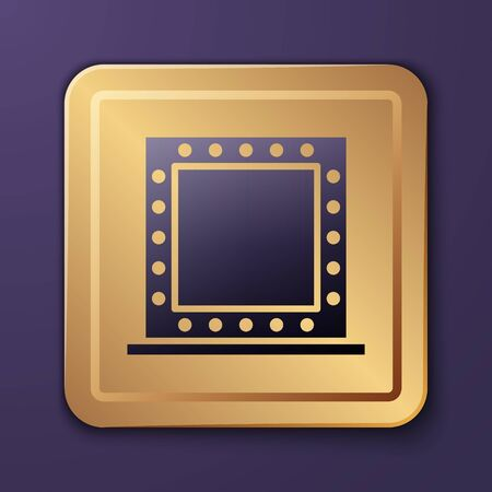 Purple Makeup mirror with lights icon isolated on purple background. Gold square button. Vector Illustration