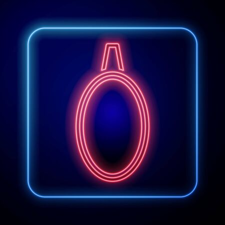 Glowing neon Mirror icon isolated on blue background. Vector Illustration