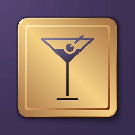 Purple Martini glass icon isolated on purple background. Cocktail icon. Wine glass icon. Gold square button. Vector Illustration