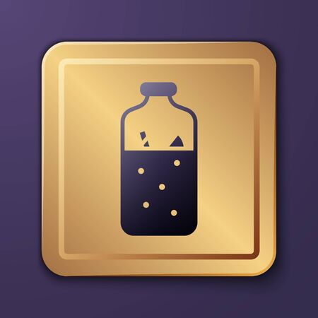 Purple Mulled wine with ingredients icon isolated on purple background. Cinnamon stick, clove, lemon slice. Gold square button. Vector Illustration
