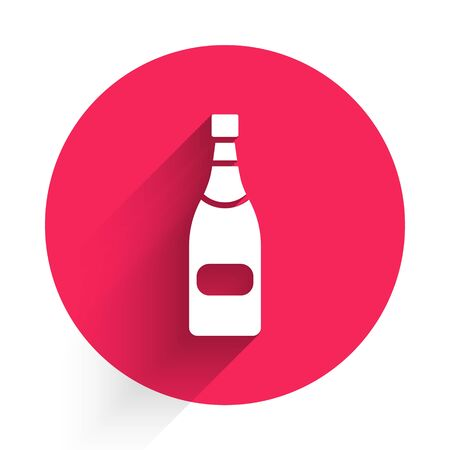 White Champagne bottle icon isolated with long shadow. Red circle button. Vector Illustration Stock Illustratie