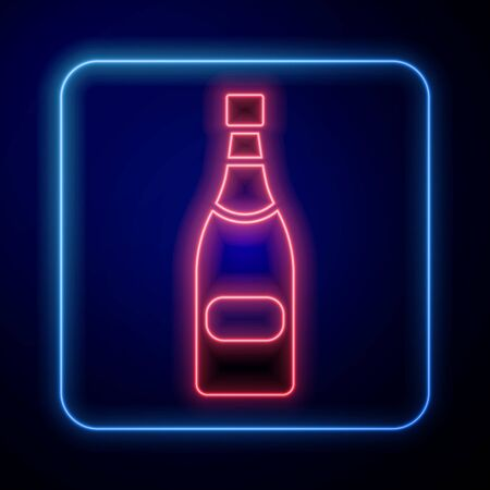 Glowing neon Champagne bottle icon isolated on blue background. Vector Illustration Stock Illustratie
