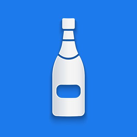 Paper cut Champagne bottle icon isolated on blue background. Paper art style. Vector Illustration Stock Illustratie